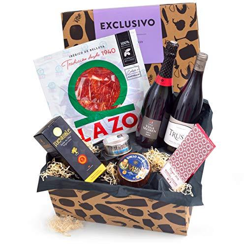 Präsentkorb EXCLUSIVO mit spanischen Spezialitäten - Geschenkkorb gefüllt mit edler Feinkost aus Spanien - ideales Delikatessen Geschenk für Gourmets
