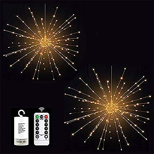 DIY Firework String Lights 8 Modes 200 LED Fairy Copper Wire Lights Dimmable Hanging Starburst Lights with Remote Control Battery Operated 2 Pack for Party Outdoor Home Decoration (Warm White)