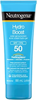 Neutrogena Hydro Boost Water Gel Face Sunscreen SPF 50 with Hyaluronic Acid, Non-Comedogenic, Water Resistant, 88 mL