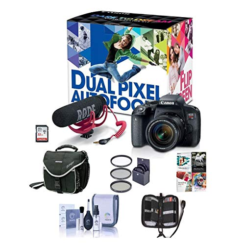 Canon EOS Rebel T7i DSLR Video Creator Kit with EF-S 18-55mm is Lens, Rode VideoMic Go, 32GB SD Card - Bundle with Camera Case, 58mm Filter Kit, Memory Wallet, Cleaning Kit, PC Software Package
