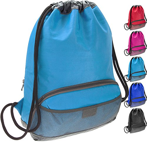 ButterFox Water Resistant Swim Gym Sports Dance Bag Drawstring Backpack Cinch Sack Sackpack for Men and Women, Waterproof Fabric - Light Blue
