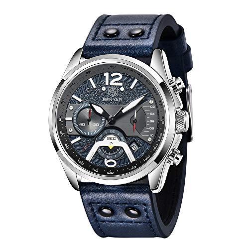 BY BENYAR Reloj para Hombre Moda Impermeable Cronógrafo Deportivo Movimiento de Cuarzo Correa de Cuero 30M Regalo Impermeable para Hombres