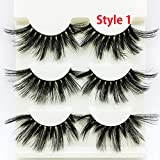 False Eyelashes, 3D Mink Hair, Criss-cross Wispy Fluffy, Handmade Eye Makeup Tools, 25mm Lashes (3Pairs-Style1)