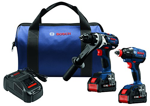 Bosch GXL18V-225B24 18V 2-Tool Combo Kit with Brute Tough 1/2 In. Hammer Drill/Driver and 1/4 In. and 1/2 In. Two-In-One Bit/Socket Impact Driver