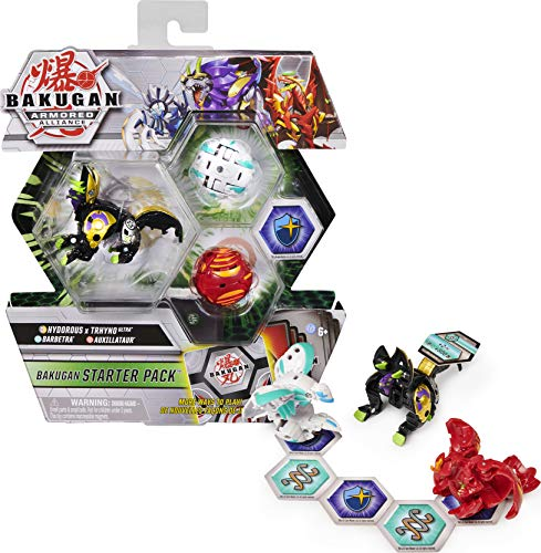 Bakugan Starter Pack 3-Pack, fuso Hydorous x Trhyno Ultra, Armored Alliance Collectible Action Figure
