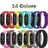 BRone 14 Piezas Pulsera para Xiaomi Mi Band 3,Coloridos Impermeable Reemplazo Correas Reloj Silicona Banda para XIAOMI Mi Band 3-14 Colores Compuesto