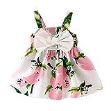 Girls Princess Dress, Transer Baby Girl Clothes Newborn Lemon Printed Infant Outfit Sleeveless Princess Gallus Dress Toddlers Swing Dresses (0-6 Months, Pink)