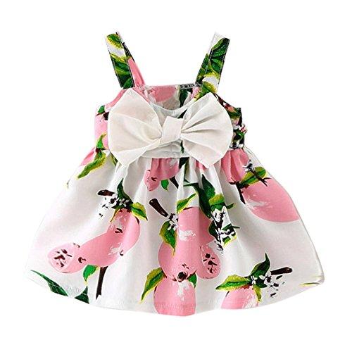Transer® Robe de princesse sans manches pour bébé fille Vêtements pour nouveau-né Imprimé citron Robe de princesse Gallus Robe pour tout-petits (0–6 mois, rose)