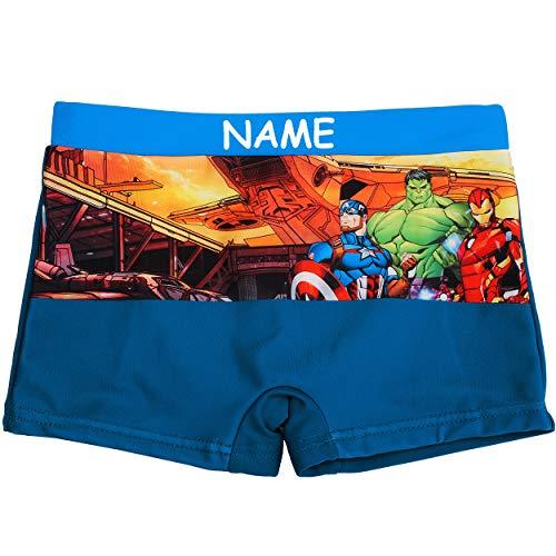 alles-meine.de GmbH Badehose / Badeshorts - Avengers - incl. Name - Größe 4 bis 5 Jahre - Gr. 110 bis 116 - für Jungen Kinder Badepants - Boxershorts Shorts mit Bein - Pants - Ba..
