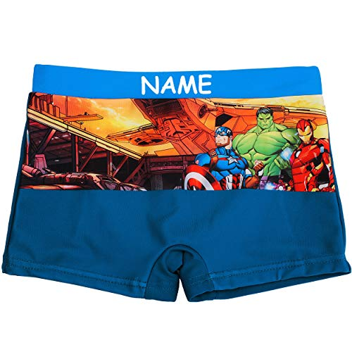 alles-meine.de GmbH Badehose / Badeshorts - Avengers - incl. Name - Größe 6 bis 7 Jahre - Gr. 122 bis 128 - für Jungen Kinder Badepants - Boxershorts Shorts mit Bein - Pants - Ba..