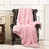 ST. BRIDGE Faux Fur Throw Blanket, Super Soft Lightweight Shaggy Fuzzy Blanket Warm Cozy Plush Fluffy Decorative Blanket for Couch,Bed, Chair(50'x60', Pink)