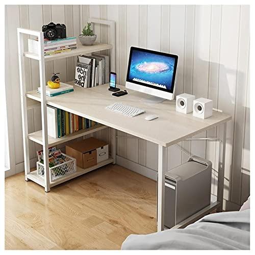 Escritorio de computadora con estantes de 3 niveles Mesa de escritura de 47,2 pulgadas con estanterías Escritorio de estudio de juegos Marco de acero moderno Estación de trabajo de oficina en casa