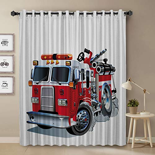 Thermal Insulated Blackout Curtain for Bed Room- Little Boy's Favorite Cartoon Firetruck Image arkening Blackout Curtain with Grommet, 1 Panel 52' x 52'