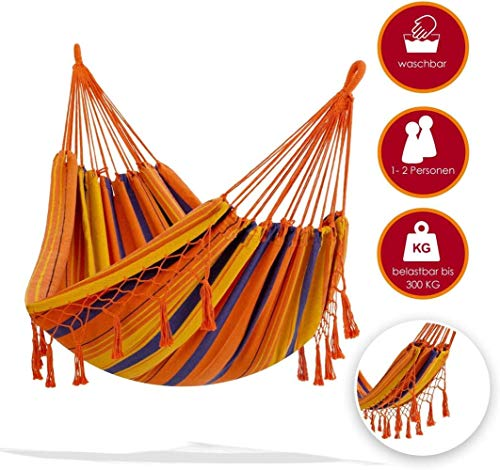 PJY hammock 300kg resilient 320x150cm max.Load capacity 300 kg, 1-2 people, breathable fringes weatherproof camping, orange