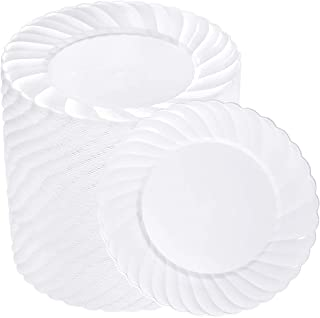 BUCLA 100PCS White Dinner Plastic Plates-9.2inch Disposable Plastic Plates-Premium Plastic Plates For Wedding&Parties
