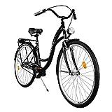 Milord. Komfort Fahrrad mit Gepäckträger, Hollandrad, Damenfahrrad, 1 Gang, Schwarz, 28 Zoll