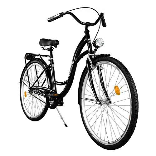 Milord. Vélo de Confort, Byciclette, Vélo Femme, Vélo de Ville, 1 Vitesses, Noir, 28 Pouces