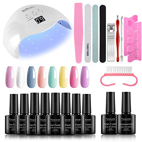 Gel Nail Polish Kit with UV Light - 48W UV LED Nail Dryer Lamp, 8 Pastel Spring Summer Colors Gel Nail Polish Set Starter Kit with Base & No Wipe Top Coat and Manicure Tools by Tecanne