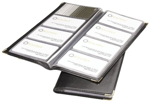 Rolodex–Tarjetero en libro 96-card, Negro y dorado (67473)