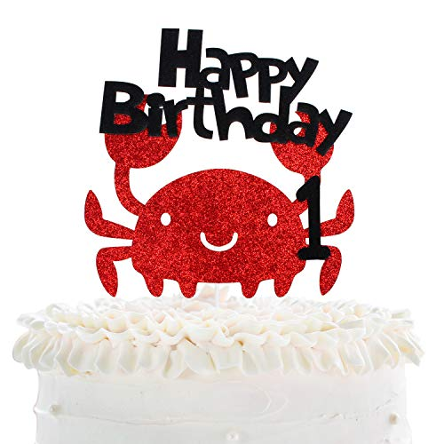 Happy Baby's 1st Birthday Party Cake Topper - Under The Sea Theme Red Glitter Crab Picks - Novelty Wild One Year Old Baby Shower Cupcake Decoration