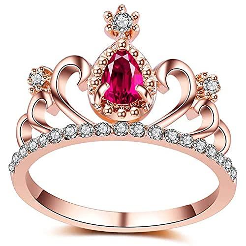 FXLYMR Sortija Aleación Elegante Corona Diseño Anillo de Noble Mujer Joyería Muchachas Regalos Eternidad/Oro rosa / 17.3mm