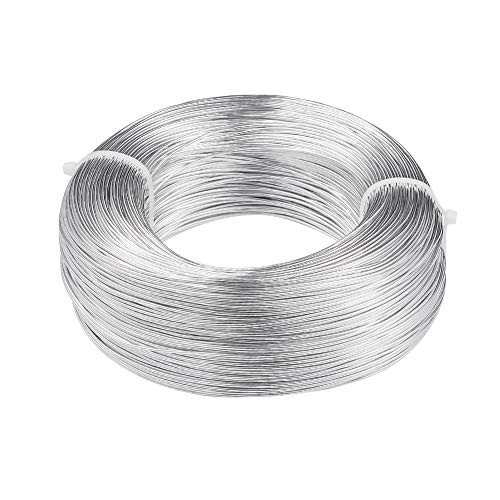 Pandahall 656 Feet Silver Aluminum Craft Wire 18 Gauge Flexible Metal Wire for Jewelry Making