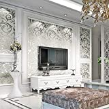 Modern Luxury Non-Woven 3D Wallpapers, Pattern Environmental Protection Wallpaper for Bedroom, Living Room, Kitchen and Bathroom Walls (Roll Size 0.53X10M) (Silver)