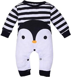 ac5354405f287 Combinaison Bébé Garçons Filles Barboteuse Manches Longues Bodys Dessin  Animé Pingouin Jumpsuit Rayure Romper Pyjamas Tenue