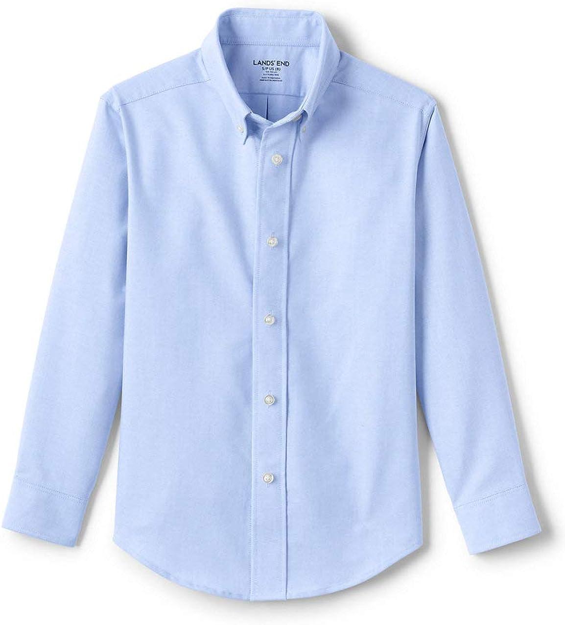 Lands' End School Uniform Kids Adaptive Long Sleeve Oxford Dress Shirt