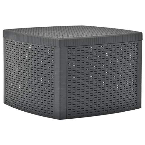 vidaXL Beistelltisch mit Stauraum Witterungsbeständig Couchtisch Teetisch Gartentisch Balkontisch Tisch Anthrazit 54x54x36,5cm Kunststoff