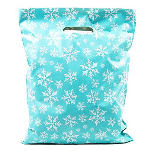 Merchandise Bags 12x15 - Snowflakes Blue - 100 Pack - Glossy Retail Bags - Christmas Shopping Bags for Boutique - Boutique Bags - Plastic Shopping Bags (Blue, 12x15)