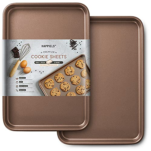 HAPPIELS 15'' Cookie Sheets 2pcs Nonstick | PREMIUM Jelly Roll Pan 15x10 | Carbon Steel Baking Sheets Nonstick Set 15 inches | Sheet Pans Gold 15in