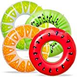 90shine 4PCS Fruit Pool Floats Watermelon Kiwi Orange Lemon Swimming Rings Inflatable Tubes Fun Water Toys for Kids Adults Beach Party Supplies