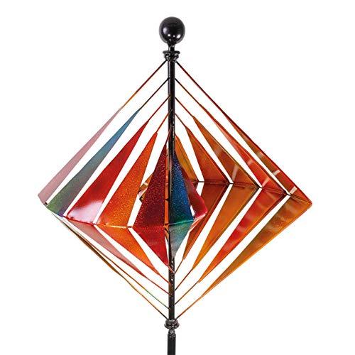 CIM Metall 3D Windrad – Kinetic Spinner Karo XL – Windspiel Ø 60cm Gesamthöhe 215cm – wetterfest – außergewöhnliche Gartendeko - Winter
