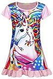AmzBarley Camisón de Algodón Pijama Niña Unicornio Chica Manga Larga Vestido Fiesta Entero una Pieza Ropa de Dormir Traje Disfraz Ducha Noche (Rosa 153, 9-10 años)