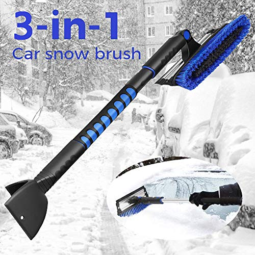 MOVTOTOP 39'' Telescoping Snow Brush and Ice Scraper with Foam Grip, Extendable Snow Scraper with Brush, 270°Pivoting Head Snow Removal Brush for Car Truck SUV Windshield