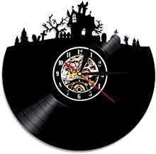 ZFANGY Vinyl Record Wall Clock Vinyl Record Clock Halloween Town Trick or Treat Home Decor Wall Art Cemetery Forest Horloge Mural Quartz Watch 12 inches