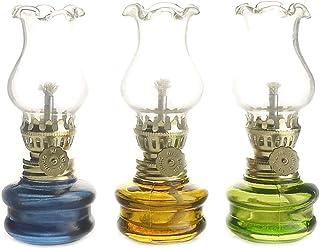 cssd 3 Pack Oil Lamp Glass Lantern Antique Decoration Transparent Desktop Oil Lamps for Indoor Use Emergency Lights Kerose...