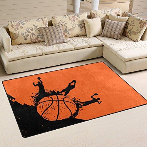 Yibaihe Leggero Stampato Tappeto Tappeto Decorativo Contemporaneo Giocatore di Basket e Impermeabile Resistente all' Usura per Soggiorno Camera da Letto (60 x39 in)