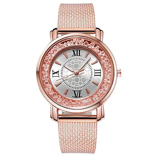 JZDH Relojes para Mujer Relojes de Cuarzo Reloj de Mujer Rosa Gold Malla Mujer Mujer Vestido Dial Retro Pulsera de Moda Reloj de Pulsera Regalos Relojes Decorativos Casuales para Niñas Damas