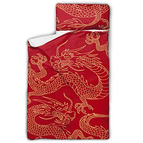 Chinese Dragons Fighting Gold Outlines On Childs Nap Mat with Pillow Child Roll Up Nap Mat with Blanket and Pillow Rollup Design Great for Preschool Daycare Sleepovers 50