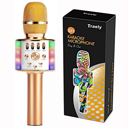TRAELY Toys for Girls 5-12 Years Old Kids Karaoke Microphone Wireless Bluetooth Rechargeable Portable Singing Karaoke Machine Christmas Birthday Gifts for Girls Boys Age 5 6 7 8 9 10 11 Party(Golden)