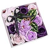NYWENY Gefälschte Blume Valentinstag Geschenkbox Enthalten 9 Stück Seifenrose Kunstblume Schöne...