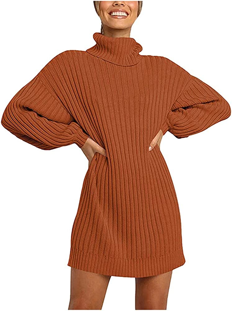NP Long Sleeve Sweater Dress Women Autumn Winter Loose Knitted Casual Pink Gray
