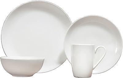 Amazon Com Le Tauci 4 Piece Matte Glaze Dinnerware Set Place Setting Service One Person White Dinnerware Sets