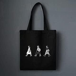 Canvas Tote Bag,Black Minimalist Cartoon Ladies Handbags Cloth Canvas Cotton Shopping Travel Women Eco Reusable Shoulder Shopper Bags Zipper Casual Cell Phone Bag