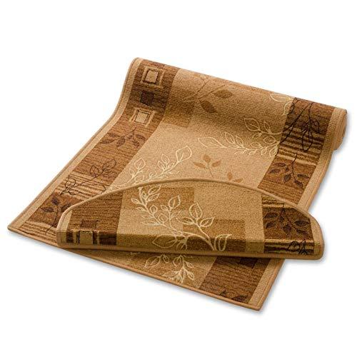 casa pura Teppich Läufer beige mit Pflanzenmusterung | Qualitätsprodukt aus Deutschland | GUT Siegel | kombinierbar mit Stufenmatten | 3 Breiten und 27 Längen (67 x 100cm)