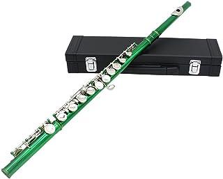 Andoer® Acuerdo Occidental Flauta Cuproníquel Chapado en Plata 16 Huecos Botón C Instrumentos de Viento con Paño de Limpieza Cork Grease Stick Mini Destornillador Acolchada Caso Guantes, verde