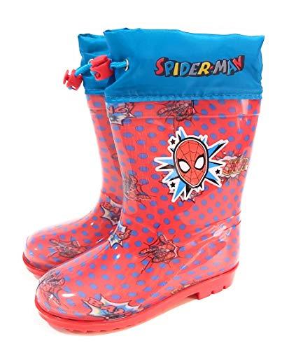 Bottes d'eau Spiderman pour enfants - Bottes d'eau Marvel avec semelle antidérapante et col avec fermeture réglable - Rouge - rouge, 23/24 EU EU