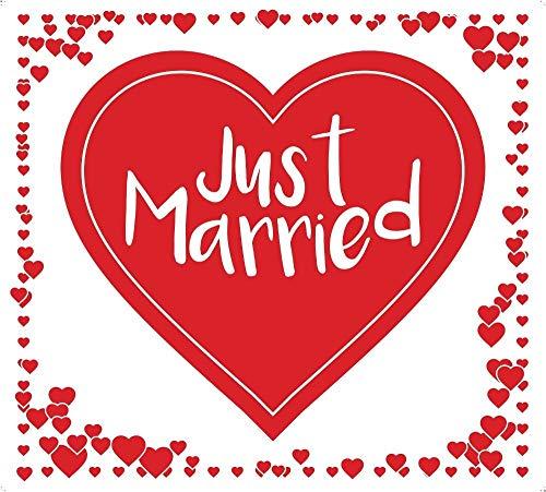 Always Amore Hochzeitsherz zum Ausschneiden, hochwertiger Stoff mit Schlaufen, Hochzeitsbrauch, Hochzeitsgeschenk mit Herzmotiv für Fotos, Rot
